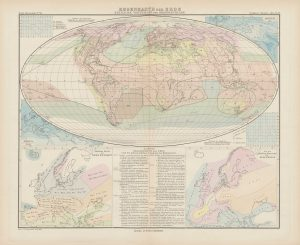 Regenkarte der Erde – zeitliche Verteilung der Niederschläge (Weltkarte mit 4 Nebenkarten und 2 Liniendiagrammen; SPA-2-000167-03_038)
