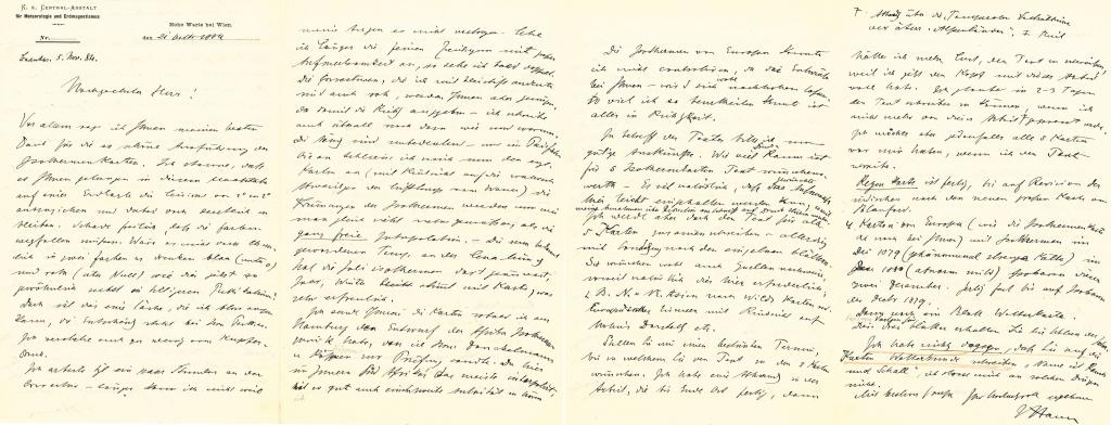 Brief von Julius von Hann an Hermann Berghaus vom 21.10.1884